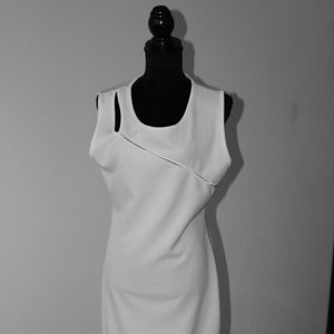 White sleeveless maxi dress with cut outs